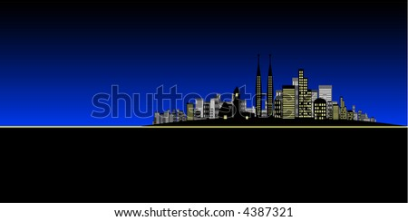 Vector - Brightly lit modern city in night time / dusk. - stock vector
