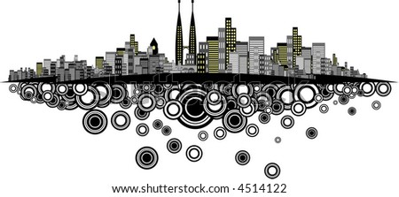 Vector - Brightly lit modern city with retro rings. - stock vector