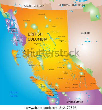 vector british columbia province map - stock vector
