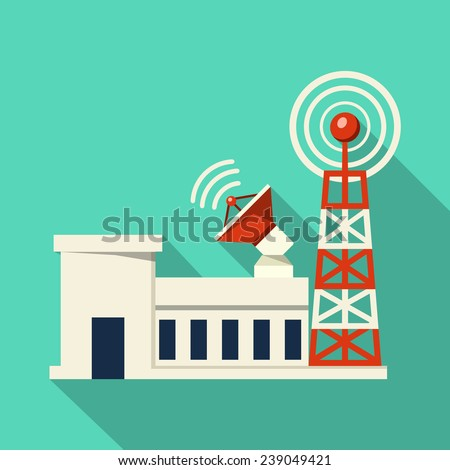 Vector Broadcast Tower - stock vector
