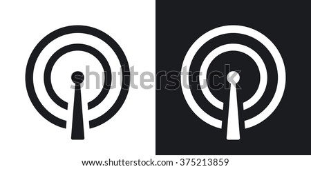 Vector broadcasting icon. Two-tone version on black and white background - stock vector