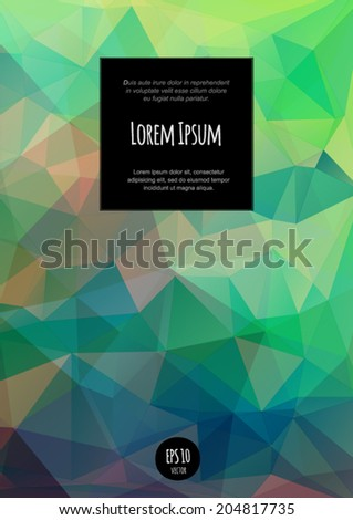 Vector brochure and book cover design template with text block. Multicolored abstract polygonal geometric background. - stock vector