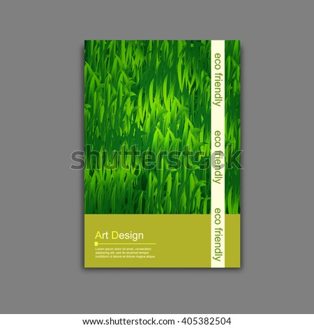 Vector Brochure Flyer Template Green Grass Stock Vector