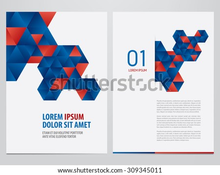 Vector brochure, annual report, flyer, magazine template. Modern blue and red corporate design. - stock vector