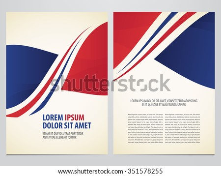 Vector brochure, annual report, flyer, magazine template. Modern red and blue corporate design. - stock vector