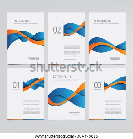 Vector brochure, annual report, flyer, magazine templates. Set of blue and orange wave designs. - stock vector
