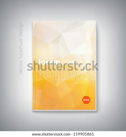 Vector brochure cover design template with modern light yellow polygonal background. Clean contemporary design. Can be used for stationery, business cards, web and flyers.  - stock vector