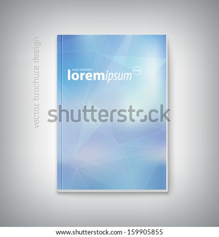 Vector brochure cover design template with modern smooth blue polygonal background. Clean contemporary design. Can be used for stationery, business cards, web and flyers.  - stock vector