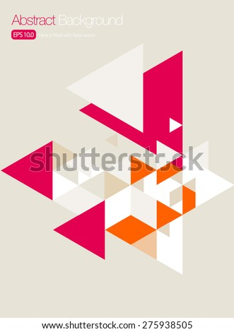 Vector Brochure Cover/ Poster Design Templates - Pink Triangles - stock vector