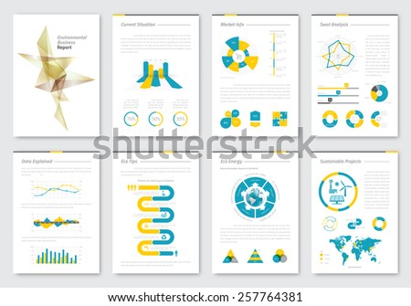 Vector brochure design template. Infographics elements for business presentations and reports. Easy graphics edition.  - stock vector