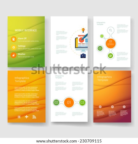 Vector brochure design templates collection. Mobile Technologies, Applications and Infographic Concept. Set of Flyer, Brochure Design Templates. - stock vector