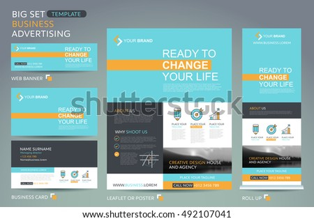 Set Vector Flyers Template Flat Design Stock Vector
