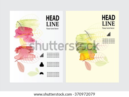 Vector Brochure Flyer design Layout template, size A4, Front page and back page watercolor abstract season - stock vector