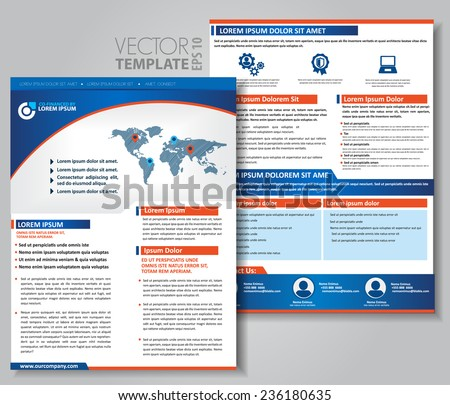 Vector brochure, flyer, magazine cover & poster template. Two ( 2 ) Sides. Back and Front. - stock vector