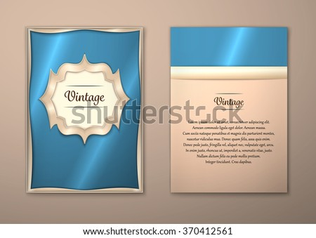 Vector Brochure Flyer royal design Layout template, size A5. Gold frame. Front page and back page. Easy to use and edit. - stock vector