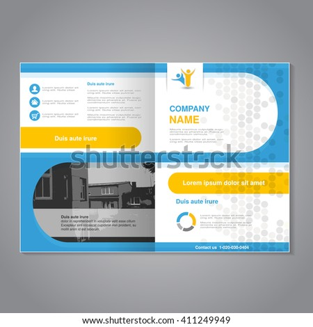 Vector brochure - flyer, simple dotted design with background of monochrome buildings. Layout template. Aspect Ratio for A4 size. Poster of blue, yellow, grey, black and white color. Magazine cover. - stock vector
