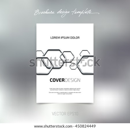 Vector brochure or booklet cover design template. Business concept. Flyer idea. 3d hexagonal glossy stainless steel shapes background - stock vector