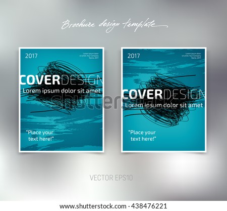 Vector brochure or booklet design template. Business concept. Flyer idea. Grunge freehand scribbles and brush strokes - stock vector