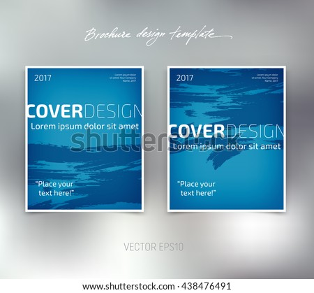 Vector brochure or booklet design template. Business concept. Flyer idea. Grungy brush strokes background - stock vector