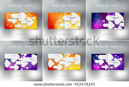 Vector brochure or booklet design templates collection. Cover and back. Business concept. White 3d arrows on bright background - stock vector
