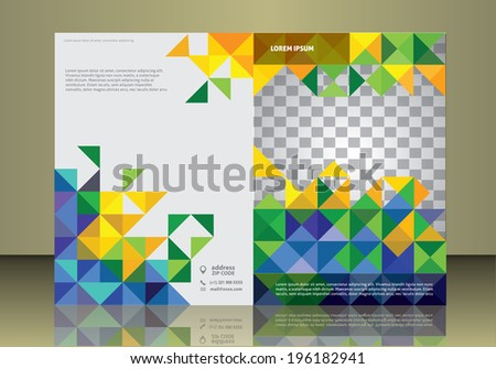 Vector brochure or magazine cover  template  in Brazil flag concept - stock vector