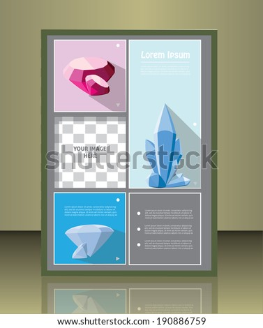 Vector brochure or magazine cover  template with gems.  image placeholder - stock vector