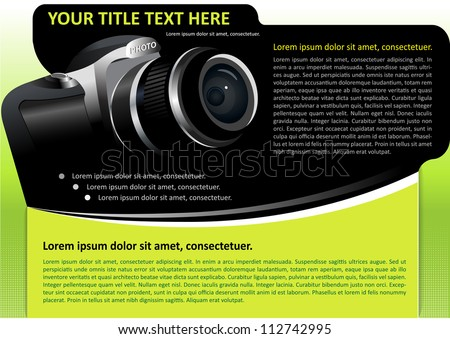 Vector brochure or poster background with digital camera - stock vector