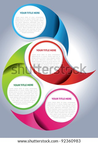 Vector brochure page design concept for four texts - stock vector