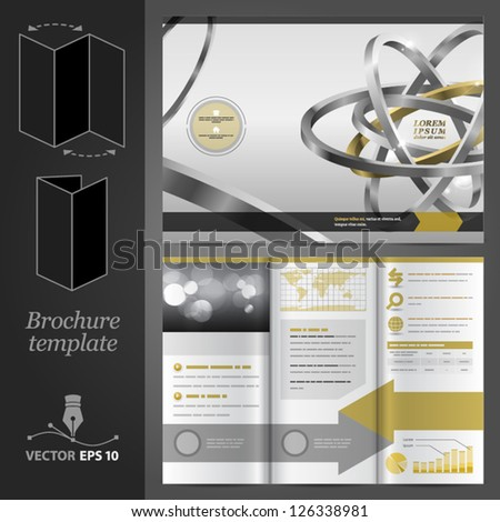 Vector brochure template design with atom. EPS 10 - stock vector