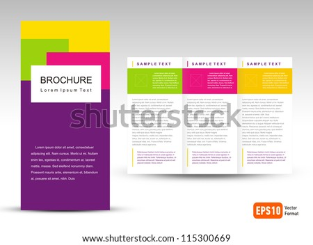 Vector Brochure Tri-fold Layout Design Template - stock vector