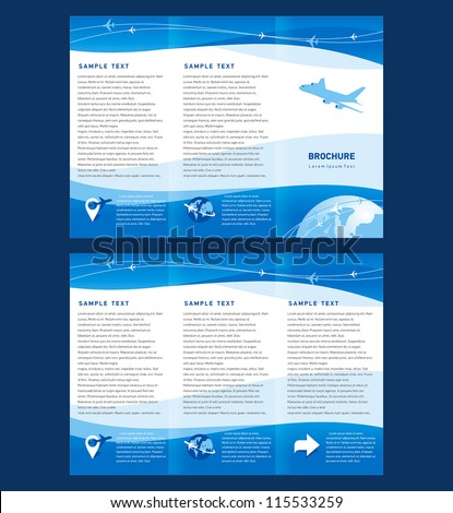 Vector brochure tri-fold layout design template airplane takeoff flight tickets air fly cloud sky blue white color travel background - stock vector