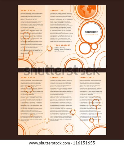 Vector Brochure Tri-fold Layout Design Template orange connect - stock vector