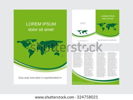 Vector brochure with green world