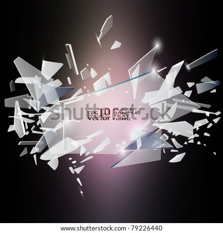 Vector broken glass design - stock vector