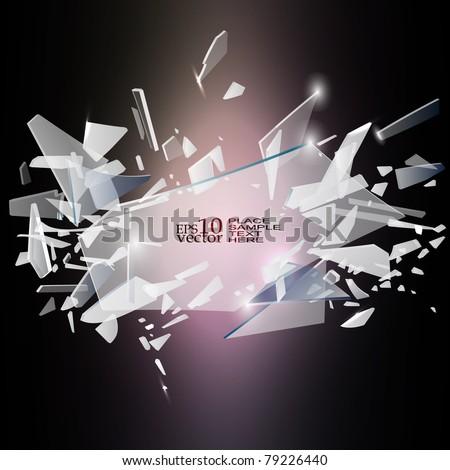 Vector broken glass design - stock vector