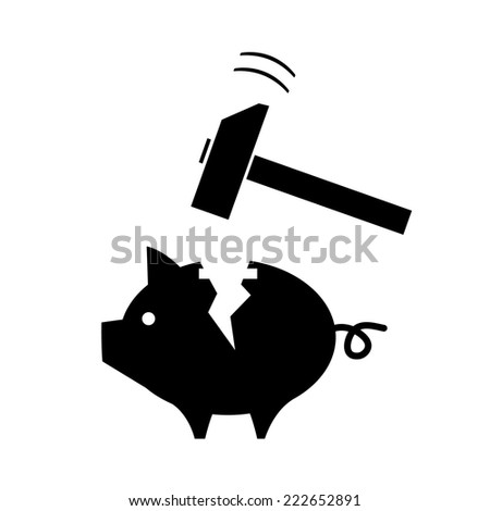vector broken piggy money box with a hammer | modern black flat design pictogram isolated on white background