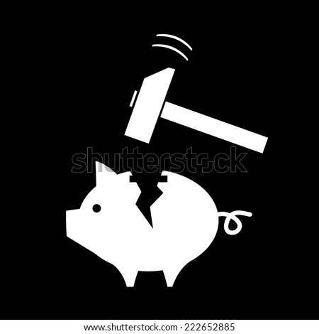vector broken piggy money box with a hammer | modern white flat design pictogram isolated on black background - stock vector