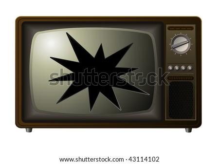 vector broken retro tv - stock vector