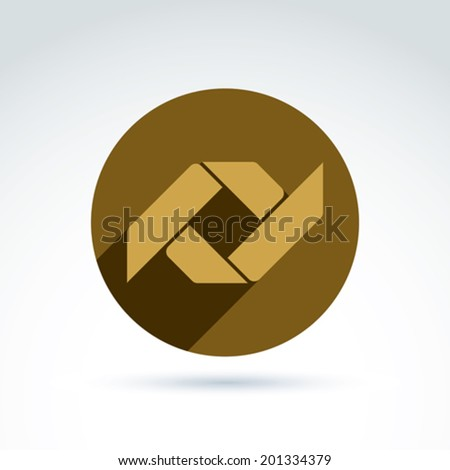 Vector bronze geometric abstract emblem placed in a circle. Corporate element isolated on white background. - stock vector