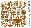 vector brown barbecue icons set on gray - stock vector