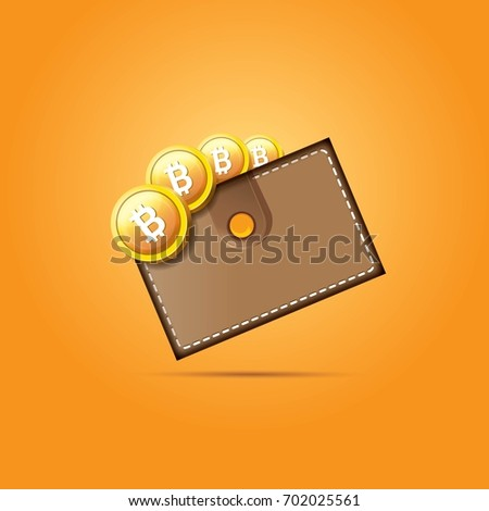 Vector brown bitcoin wallet coins isolated stock vector 702025561 vector brown bitcoin wallet with coins isolated on orange background bitcoin business concept ccuart Choice Image