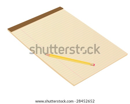 Vector Brown Blank Lined Notepad with Pencil