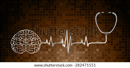 vector brown brain processes technology, creative idea concept. wave - stock vector