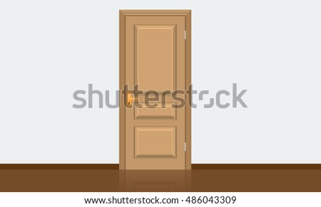vector brown closed door with frame isolated on background flat color stye design useful