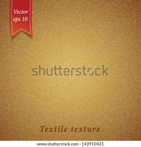 Vector brown fabric texture background illustration. - stock vector