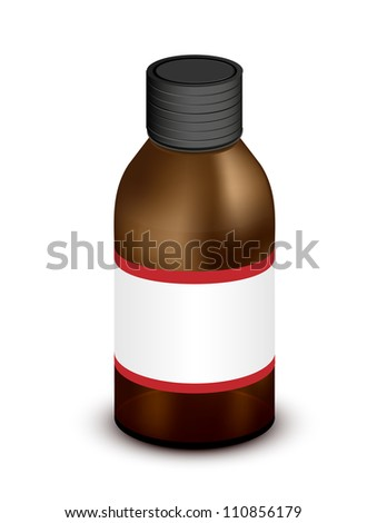 Vector brown medicine bottle isolated on white. Eps 10 - stock vector