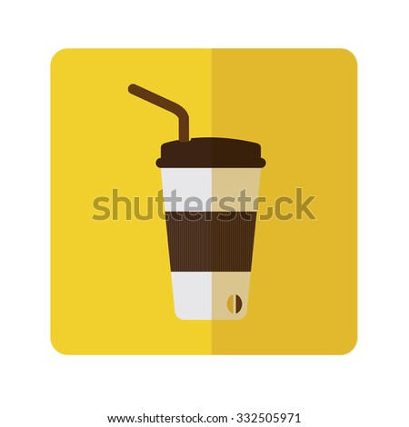 Vector brown paper coffee cup,flat design - stock vector