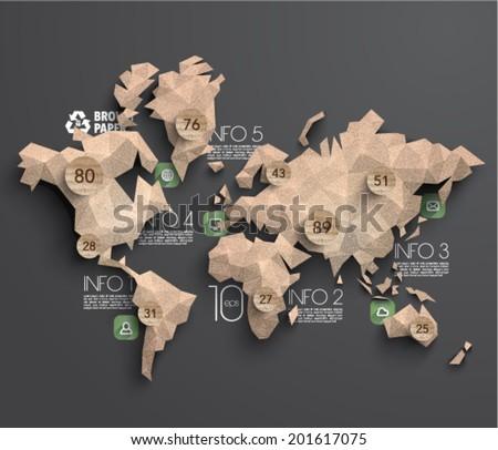 Vector Brown Paper Polygonal World Map Graphics - stock vector