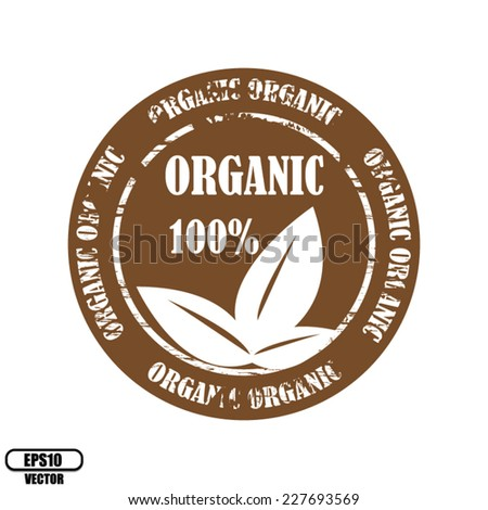 Vector: Brown rubber stamp, label, symbol and sticker with text 100% and three leafs Organic natural product isolated on white background.  - stock vector