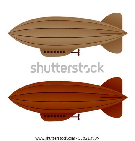 vector brown vintage airship zeppelin - stock vector